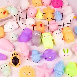 KUUQA 40 Pcs Mochi Squishies Kawaii Animal Squishy Unicorn Dinosaur Tortoise Mini Soft Squeeze Stress Reliever Toys for Kids Birthday Party Favors Goodie Bag Easter Egg Fillers