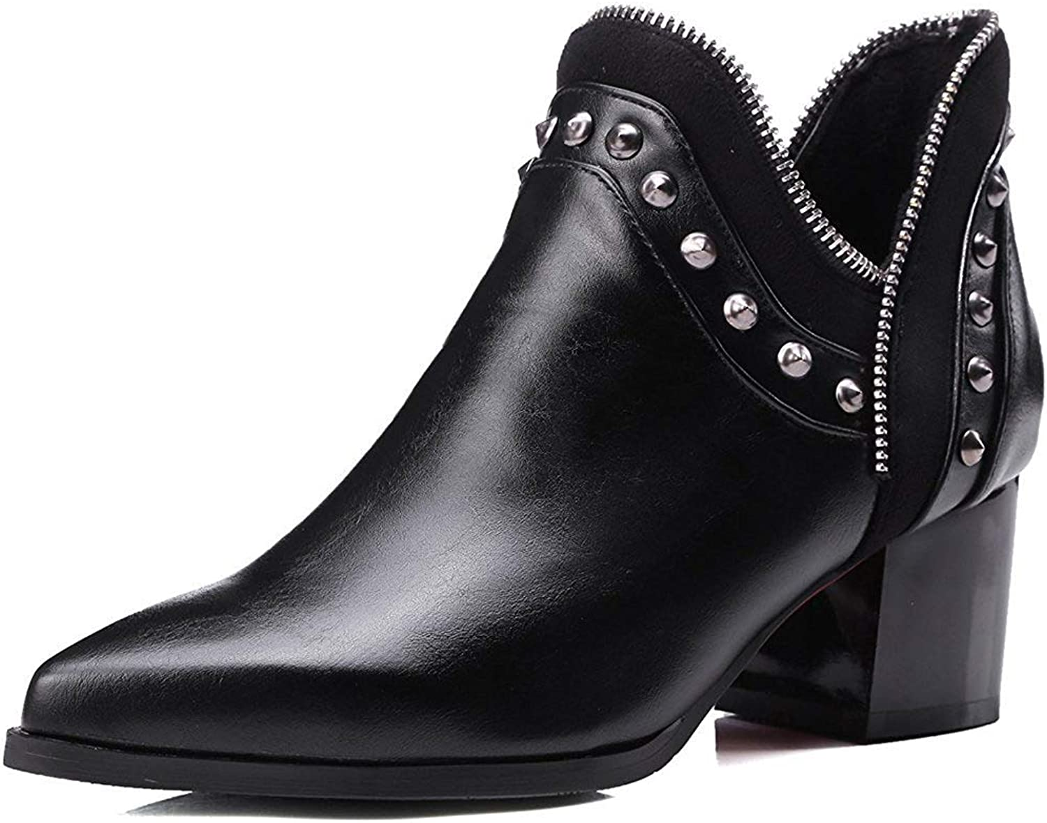 Wallhewb Women's Sexy Rivets Studded Pointed Toe Booties Block Mid Heel Slip-on Ankle Boots Breathable Leather Pants Joker No Laceup Fashion Coarse Heel Convenient Dress Black 8 M US Ankle Boots