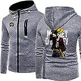 Herren Hoodies Zip Sweatshirt für One Piece Monkey D. Ruffy Printed Fashion Top Hoodie Lässige...