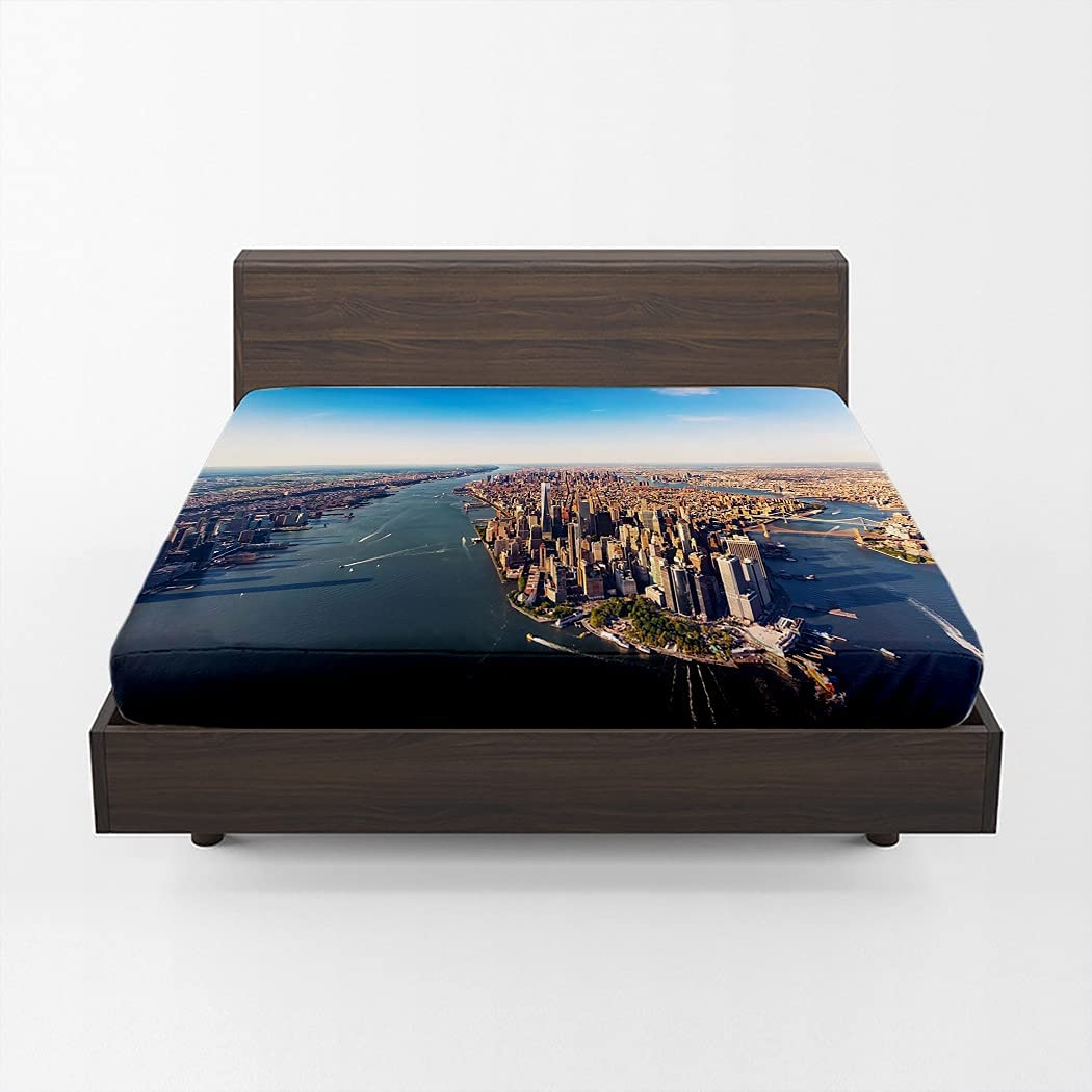MOOTFAY Aerial Skyline View Fitted Max 52% OFF Sheet Max 83% OFF Lower Yo Manhattan New