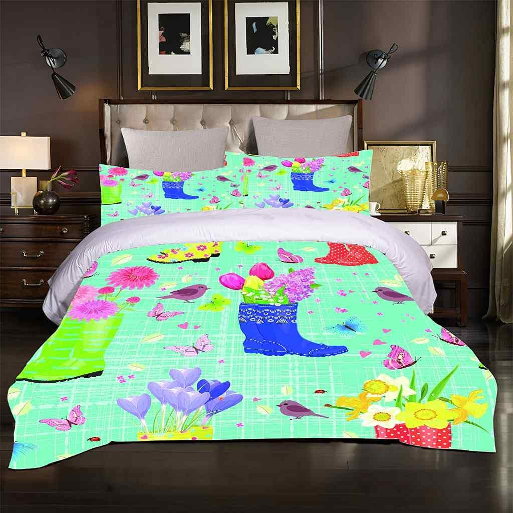 PYCXYI Duvet Cover Set Queen with Blue Bombing free shipping 2021 model Printed Flower Bird Patte