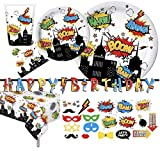 Serves 30   Complete Party Pack   Super hero Theme   Includes Plates, Napkins, Cups, Table Cover, Photo Props, Happy Birthday Banner