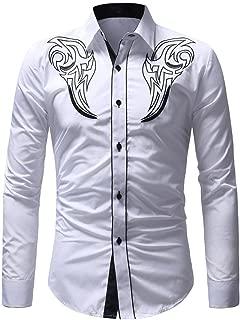 Autumn Winter Retro Embroidery Long Sleeved Cowboy Shirt Western Shirt