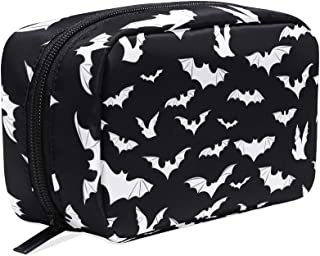 Bats Halloween Goth Cosmetic Bags Organizer- Travel Makeup Pouch Ladies Toiletry Case for Women Girls, CoTime Black Zipper