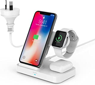 SooPii Wireless Charger,4 in 1 Wireless Charging Station with Built-in AC Adapter for iWatch Charger Series & Airpods Pro/...