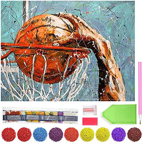 Zariocy Sports Baloncesto Dunk Diamond pintura redonda completa por número kits, pintura de bricolaje con diamantes de imitación de diamante bordado arte decoración hogar 30 x 40 cm