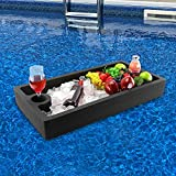 Polar Whale Extra Large Floating Bar Table Serving Buffet Tray Drink Holder for Swimming Pool or Beach Party Float Lounge Refreshment Durable Black Foam UV Resistant with Cup Holders 30 Inches Wide