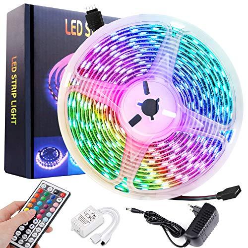 lasesasies LED Strip Lichterkette Lichtleisten mit Fernbedienung, 5M RGB Farbwechsel mit 44 Tasten Fernbedienung IP65 Wasserdicht, Home TV Küche Schlafzimmer Outdoor DIY Dekoration