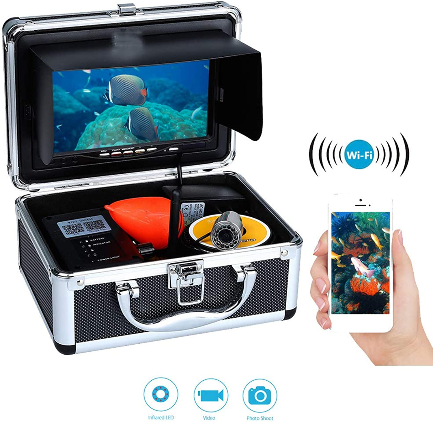 WiFi Fish Finder with 7 inch TFT LCD Display,1000TVL HD Camera,12 Highlight NightVision Lights,SunVisor and DVR fuction for iOS Android,Infraredlight,50M