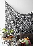 LALI PRINTS - Tapiz de Estilo Indio Hippie, diseño de Elefantes, Color Blanco y Negro + 1 Funda de Almohada de Color Blanco