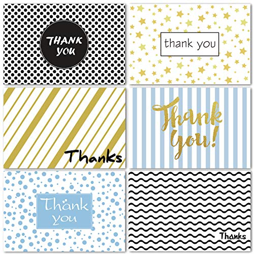 Thank You Cards of Ohuhu, 6 Design of 48 Retro Postcard Style Thank U Card for Wedding, Baby Shower, Business, Anniversary - Include Envelopes and Stickers - One Blank Side Thank You Notes, 4 x 6 Inch