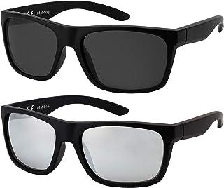 La Optica B.L.M. - La Optica Gafas de Sol LO8 UV400 Deportivas da Hombre y Mujer, Mate Negro (Lentes: 1 x Gris, 1 x plata espejada)