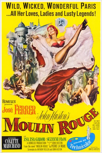 CLASSIC MOULIN ROUGE FRENCH MOVIE POSTER jose ferrer zsa zsa gabor 24X36 (reproductie, geen origineel)