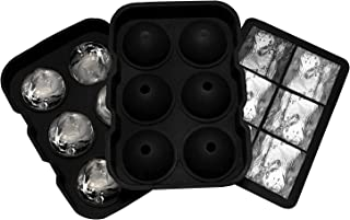 Coality Ice Cube Tray - Set of 2 Large Square & Round Shaped 6 Cavity Reusable Silicone Ice Tray Perfect for Cocktails, Bo...