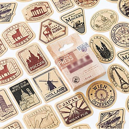 AIUIN Etiqueta Adhesiva Mapa del Mundo Pegatina de Sellado DIY Paquete de Regalo (Estilo 3)