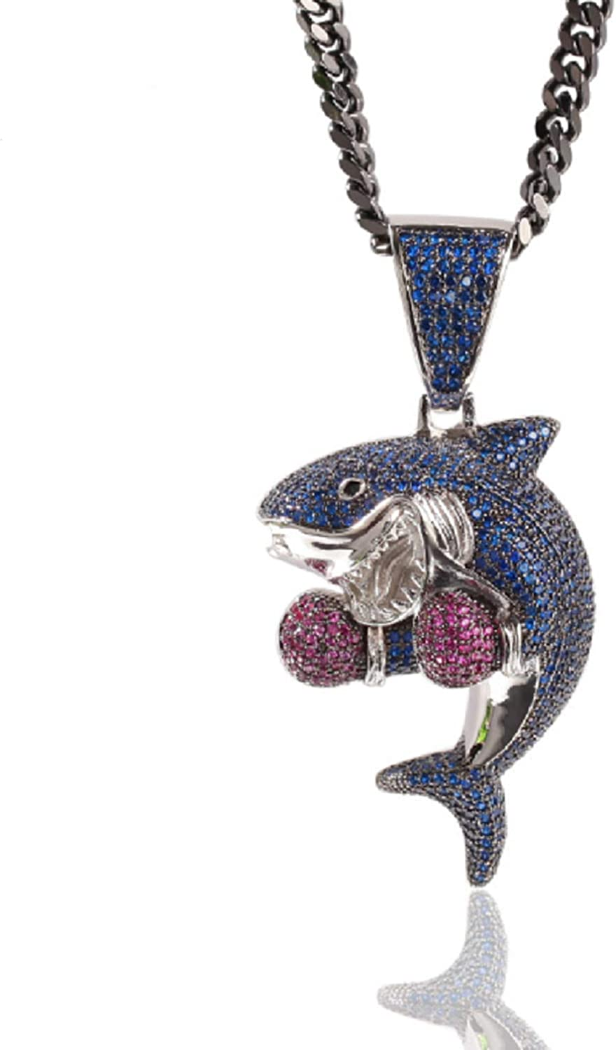 JECAXIN Hip Hop Bubble Bling Iced-Out Blue Boxing Shark Pendant Necklace 24-inch Cuban Chain