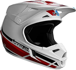 Fox Racing V1 Red Whiite And True SE Youth Off-Road Motorcycle Helmets - White/Red/Blue/Medium