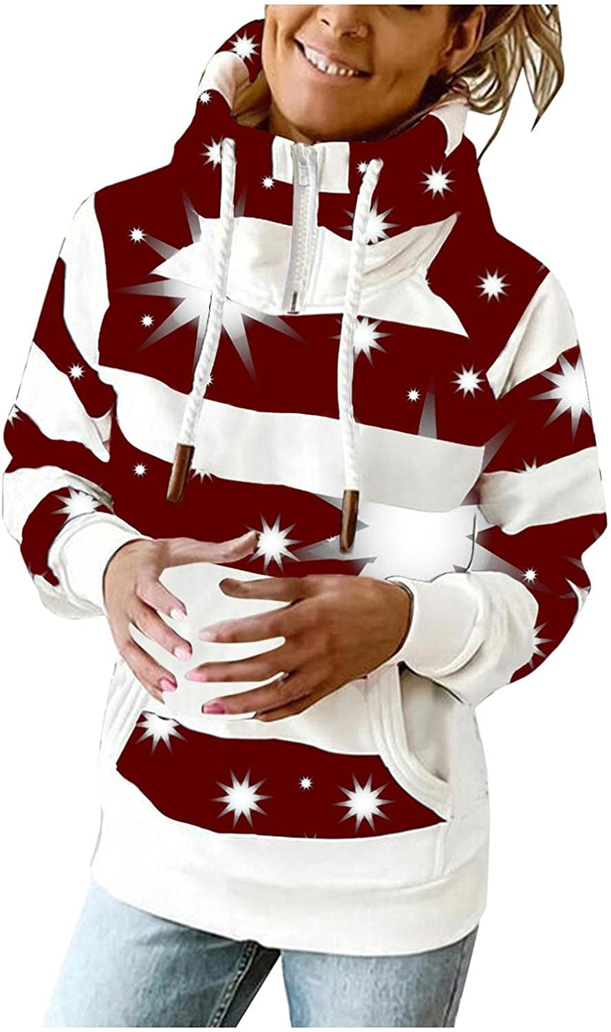 AODONG Hoodies for Women Plus Size Zip Up Pullover Tops with Pocket Hoodies Striped Long Sleeves Hooded Tops