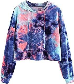 Women Hoodies Sweatshirt Color Print Patchwork Crop Long Sleeve Shirt Pullover Tops Sweaters Blouse