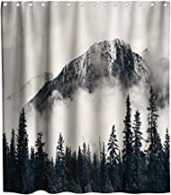 Final Friday Grey Forest Fog Mountain Rustic Farmhouse Theme Fabric Shower Curtain Sets Bathroom Decor with Hooks Waterproof Washable 72 x 72 inches Gray and White
