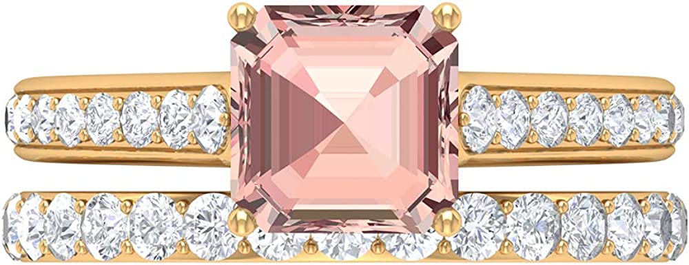 4.88 CT 35% OFF Lab Created Morganite Ring Rin Online limited product D-VSSI Bridal Moissanite