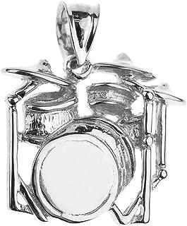 925 Sterling Silver Music Charm Drum Set Pendant