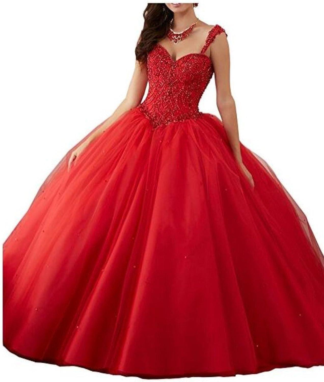 Beilite Womens Sweetheart Beaded Quinceanera Dress Ruffles Organza Long Prom Gown