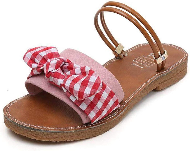 Women's Ladies Casual Lightweight Sandal shoes Slim Buckle LowHeeled Summer Beach Open Toe Rough Heels Rubber Sole Suede Upper Rivet Sandal Flip Flops for Women, LX