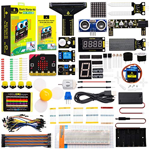 KEYESTUDIO Basic Starter Kit with microbit Board for BBC Microbit,with 35 Projects Tutorial| microbit Breakout Board,Relay,Breadboard,LEDs,Power Supply, Micro USB,etc.