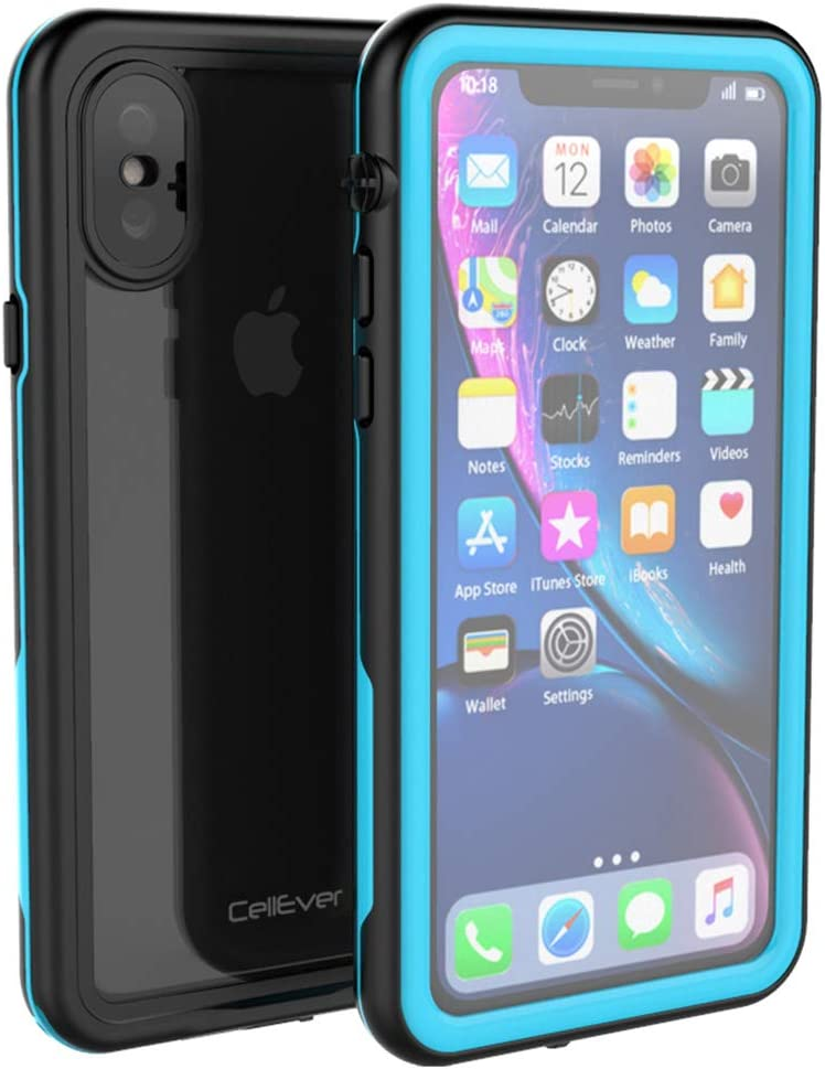 CellEver Compatible with iPhone Xs/iPhone X Waterproof Case Fully Sealed Clear Slim Military Grade Protection IP68 Certified SandProof Snowproof Full Body Protective Transparent Cover (Sky Blue)