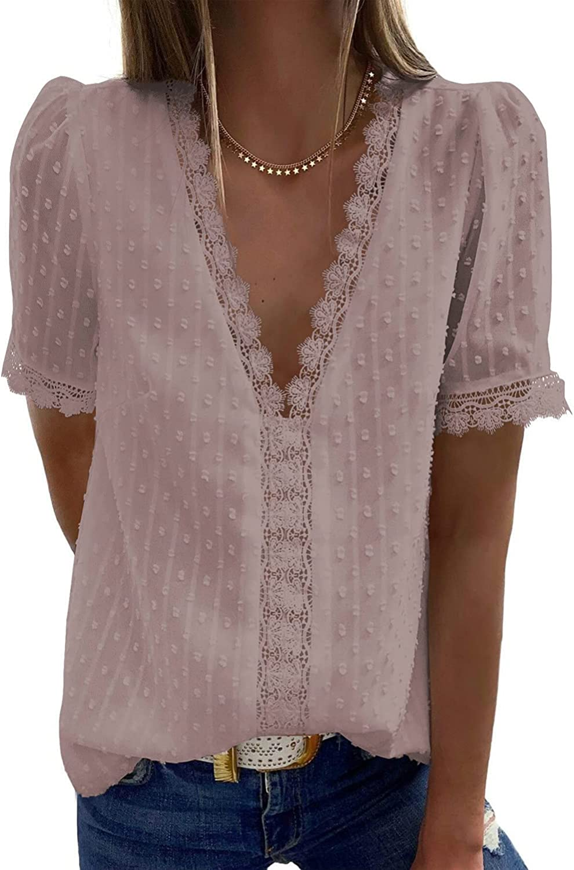HUUSA Women's Spring V Neck Short Sleeve Blouses Chiffon Casual Shirts Tops