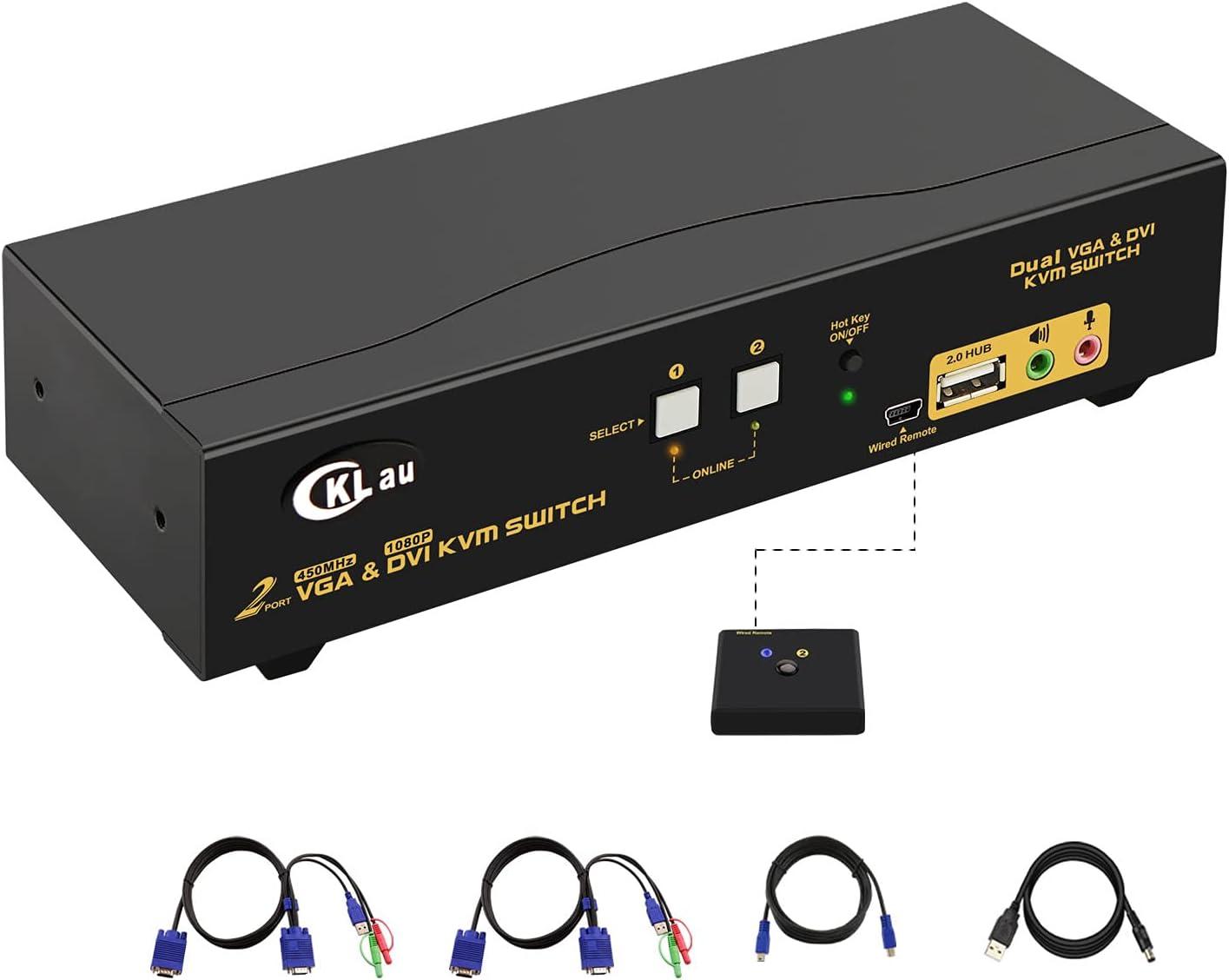 CKLau 2 Port Dual Monitor KVM DVI + VGA Extended Display with Audio, Microphone, USB 2.0 Hub and 2pcs 4ft KVM Cables