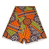 Afrikanischer Stoff – Orange/Grün geometrisches