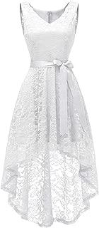 Women's Floral Lace Hi-Lo Bridesmaid Dress V Neck Cocktail Formal Swing Dress
