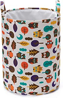 Every Deco Owls Collapsible Laundry Hamper with Handles and Fabric Lining for Clothing and Storage, 17.7