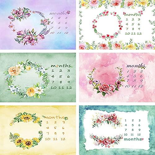 Fondo de Foto recién Nacido gradiente Guirnalda Calendario de guirnaldas Fondos de fotografía mensual Estudio Accesorios de fotófono Vinyl-250x180cm