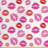 ABAKUHAUS Lippen Gewebe als Meterware, Rosa und Rot