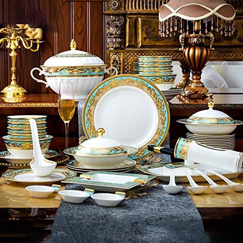 Juegos De Vajillas De Porcelana, 59 piezas de vajilla de porcelana de Phnom Penh de alta calidad   Olla/Plato/Cuenco - Juego de combinación de porcelana para regalos de boda