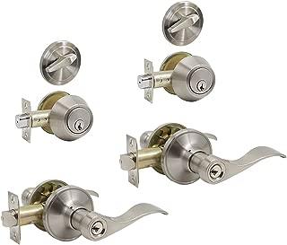 Sierra Entry Door Knob Lockset and Single Cylinder Deadbolt Combination Set Aged Oil Rubbed Bronze Keyed Alike Dynasty Hardware CP-SIE-12P