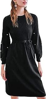 Zandiceno Women's Elegant Lantern Sleeve Belt Sweater Dress O Neck Midi Knit Dresses Casual Autumn Wear