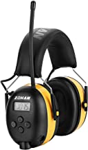 ZOHAN Type-A AM/FM Radio Headphone with Digital Display, Ear Protection Noise Reduction Safety Ear Muffs, Ideal for Lawn Mowing - Yellow