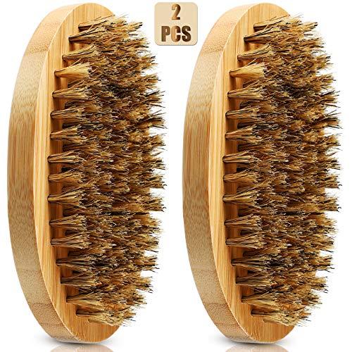 2 Pezzi Spazzola con Setole di Cinghiale Pettini da Barba Tascabili in Legno Funziona con Tua Barba Olio e Balsamo per Lisciare e Condizionare Barba per Viaggiare Borsa da Toilette