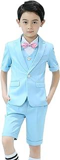 [Y-BOA] 子供 男の子 フォーマル スーツ 半袖 ジャケット シャツ ベスト ショートパンツ 蝶ネクタイ 5点セット 紳士服 タキシード 七五三 結婚式 発表会
