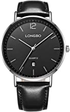 LONGBO Fashion Men Brief Dial Date Calendar Watches Leather Strap Waterproof Business Wristwatch for Men