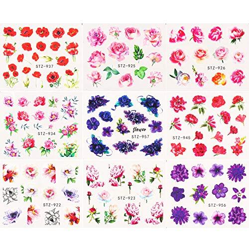 ZJMIYJ Nagelsticker,9Pc Flower Nail Wasseraufkleber Butterfly Decals Full Wraps Maniküre Sommer Floral Slider Für Nägel Kunstdekorationen