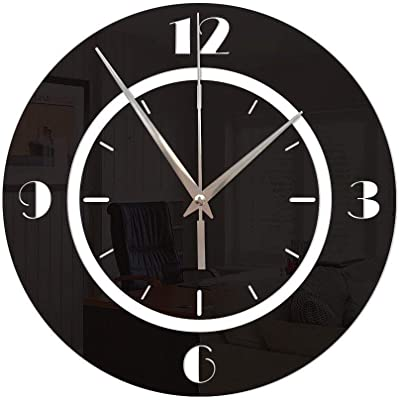 PQPQPQPQ Creative Round Digital Wall Sticker Mirror Sticker Decoration Wall Clock For Living Room Bedrooms Office
