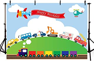 MEHOFOTO Transportation Birthday Party Backdrop Automobile Train Planes Car Truck Boy 1st Birthday Blue Sky White Cloud Green Lawn Photography Background Photo Booth Banner 7x5ft