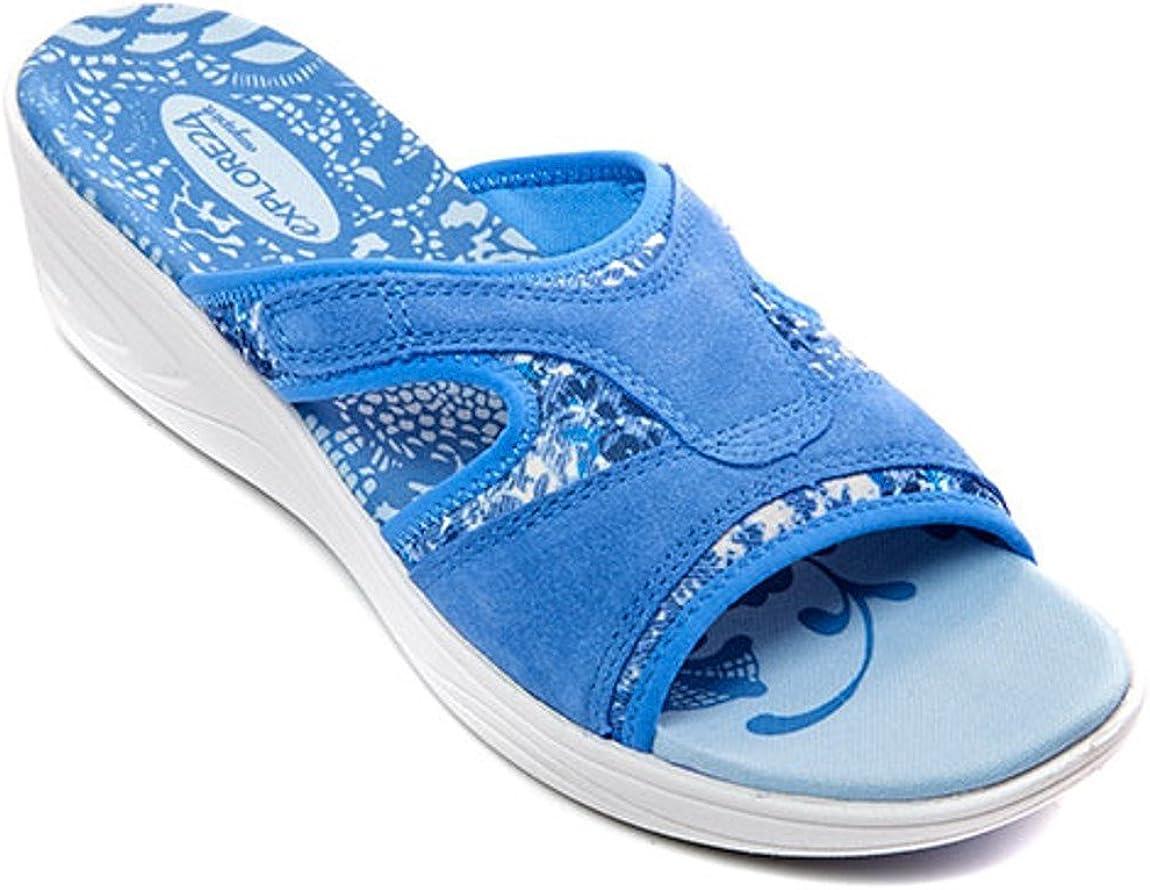 Easy Spirit Marvie Slide Sandals (US), Blue, Open Toe, Cushioned Foot Bed