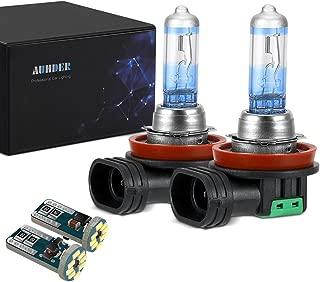 AUHDER H11 12V 55W Halogen Headlight Bulb Upgrade Vision High Performance 2 Bulbs(Contains 2 PCS Super Bright Error Free T10/194 Auto LED Bulbs)