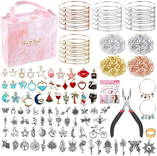 300Pcs Bangle Bracelets Making Kit Thrilez Charm Bracelet Making Kit with Expandable Bangles product image